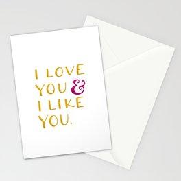 I love you & I like you -- Yellow Stationery Cards