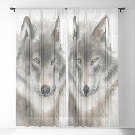 Wolf portrait Sheer Curtain