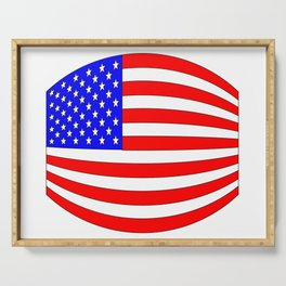 USA Stars and Stripes Flag Wide Serving Tray