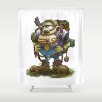 cyclops Shower Curtains featuring Cyclops Moblin by Denzel A Jackson