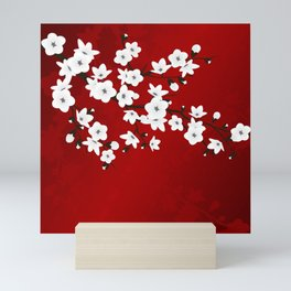Red Black And White Cherry Blossoms Mini Art Print