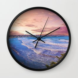 First Beach - Cliff Walk Newport, Rhode Island Sunset Landscape Wall Clock
