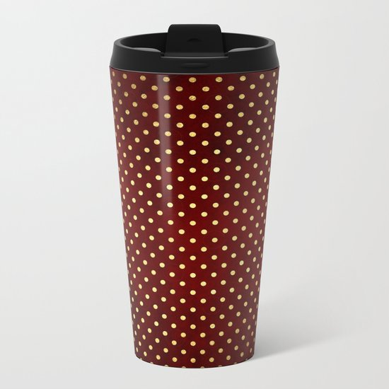 Adorable design for girls- Small gold dots on red backround Metal Travel Mug