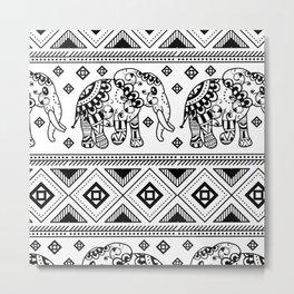 Bohemian Elephant Pattern Decoration Metal Print