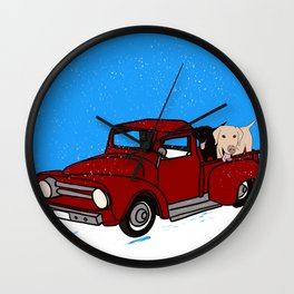 Best Labrador Buddies In Old Red Truck Wall Clock