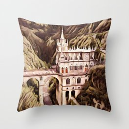 Colombia Las Lajas Sanctuary Artistic Illustration Slush Style Throw Pillow