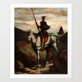 "Honoré Daumier ""Don Quixote in the Mountains"" Art Print"