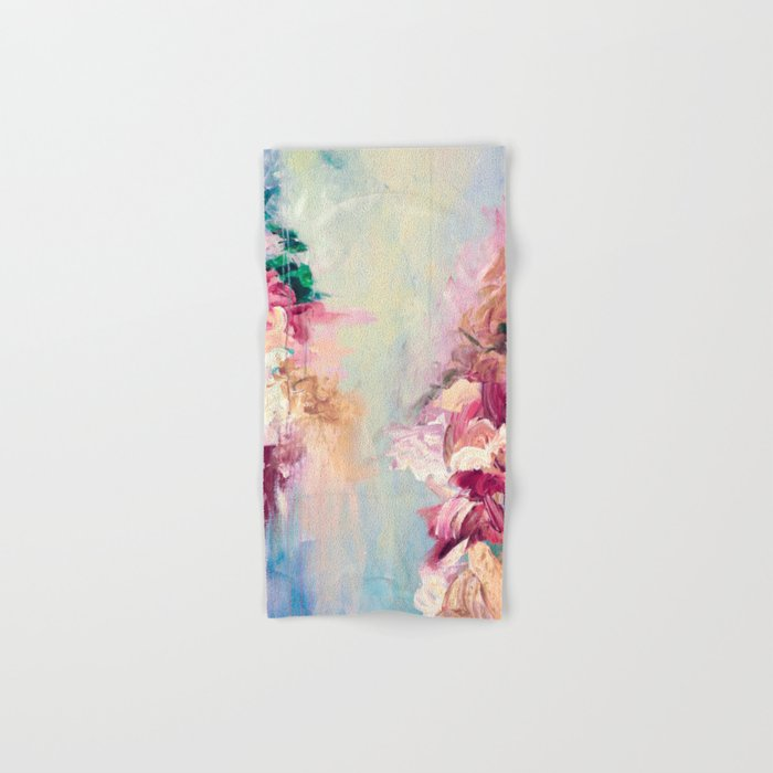 WINTER DREAMLAND 1 Colorful Pastel Aqua Marsala Burgundy Cream Nature Sea Abstract Acrylic Painting  Hand & Bath Towel