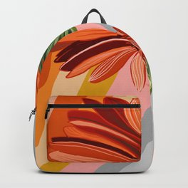 Flower petals stripes and bright Gerbera Backpack