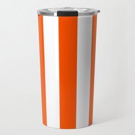 International orange (aerospace) - solid color - white vertical lines pattern Travel Mug
