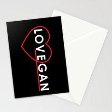 Lovegan (Love Vegan), on black Stationery Cards