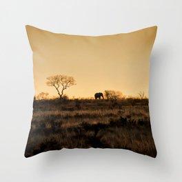Elephant Sunset Silhouette Throw Pillow