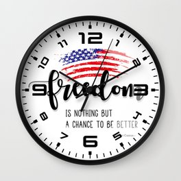 Freedom 4th of July Wall Clock