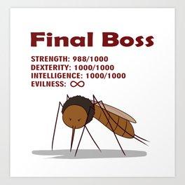 Final Boss - Red Letters Art Print