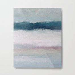 Dark Teal Blue, White, Pink, Light Blue Modern Wall Art, Ocean Waves Diptych Nursery Beach Decor Metal Print