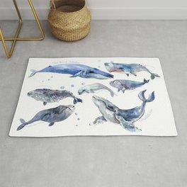 Whales, Whale design, whale wall art, sea, marine aquatic animal art, school learning wall Rug