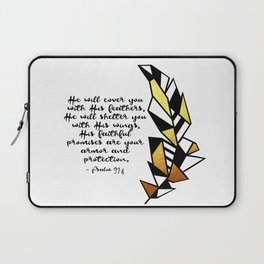 Gold Feather & Psalm 91:4 Laptop Sleeve