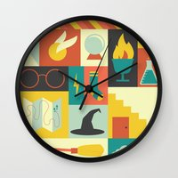 harry potter Wall Clocks featuring King's Cross - Harry Potter by Ariel Wilson