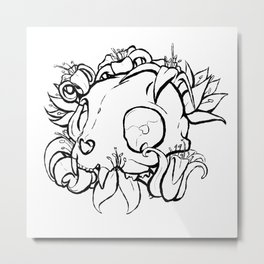 Cats and Lilies Metal Print