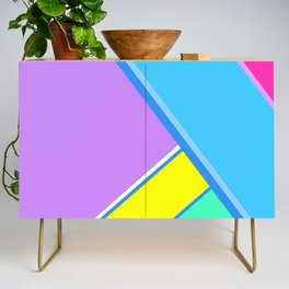 Happy Hues Modern Colorblock Pattern - Unicorns Frolic Credenza
