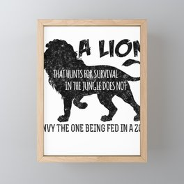 A Lion That Hunts For Survival Framed Mini Art Print