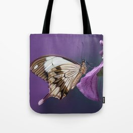 Pretty butterfly on pink flower Tote Bag