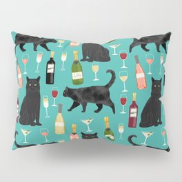 Black cat wine champagne cocktails cat breeds cat lover pattern art print Pillow Sham