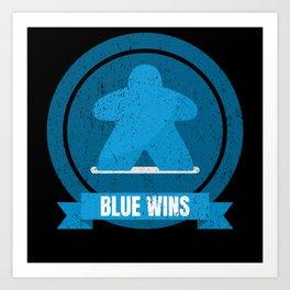 Blue Meeple Wins Design Art Print