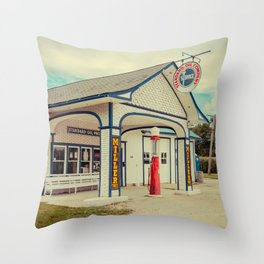 Standard Oil Station Odell Illinois Route 66 Restored Petrol Gas Service Station Throw Pillow