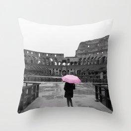 Colosseum rainy day Throw Pillow