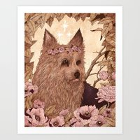 yorkie Art Prints featuring Yorkie by Angela Rizza