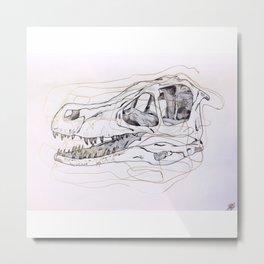 Velociaptor Skull Metal Print