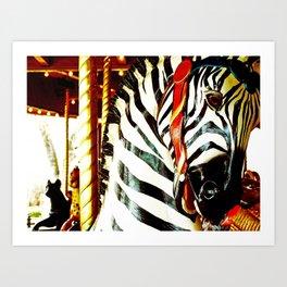 Carousel Zebra Art Print