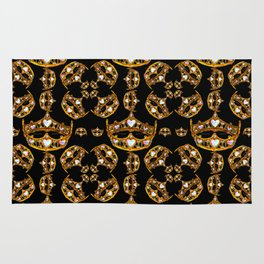 Queen of Hearts gold crown tiara scattered pattern by Kristie Hubler with black background Rug