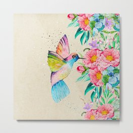Whimsical watercolor hummingbird and  floral hand paint Metal Print