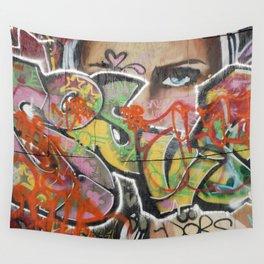 found street art urban graffiti layers texture pattern lettering portrait Wall Tapestry