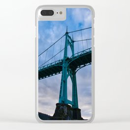 St. Johns Bridge, Gothic Tower Clear iPhone Case