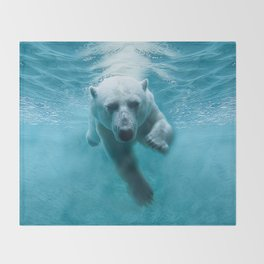 Polar Bear Swimming Throw Blanket