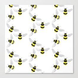Fuzzy Bumblebees Canvas Print