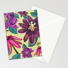 Passiflora and hellebore flower pattern green Stationery Cards