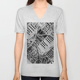 analog synthesizer  - diagonal black and white illustration Unisex V-Neck