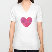 gem V-neck T-shirts featuring Heart Gem by Better Tree