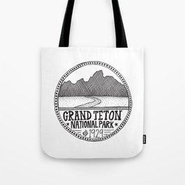 Grand Teton National Park Illustration Tote Bag