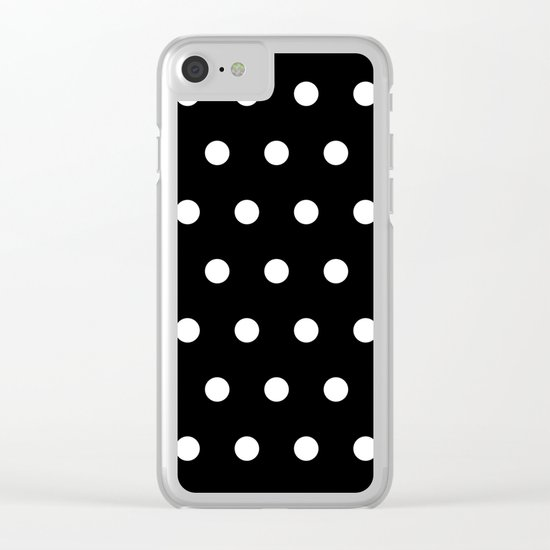 Dots on black Clear iPhone Case