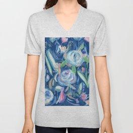 blue floral explosion Unisex V-Neck