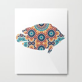 FISH SILHOUETTE WITH PATTERN Metal Print