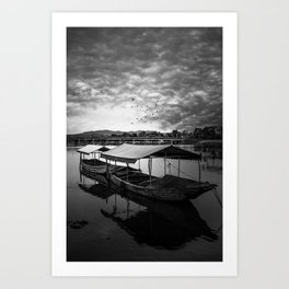 Boat on Water (Black and White) Art Print