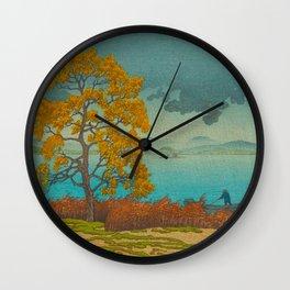 Vintage Japanese Woodblock Print Autumn Japanese Landscape Field Tall Tree Wall Clock