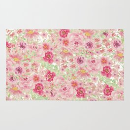 Pastel pink red watercolor hand painted floral Rug