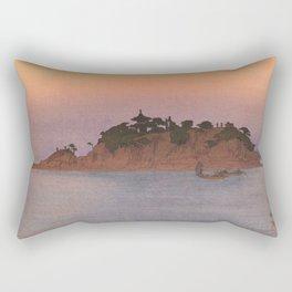 Tomo-no-ura Hiroshi Yoshida Vintage Japanese Woodblock Print Rectangular Pillow
